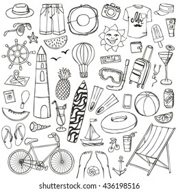Summer Vacation DoodlesVector Hand Drawing Fashion Wear Beach Partytravel Symbols