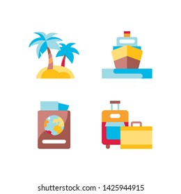 Summer vacation flat color icons set. Holiday pictograms: island, cruise liner, passport with air tickets, travel suitcases. Signs for web page, mobile app, banner. Isolated flat template.