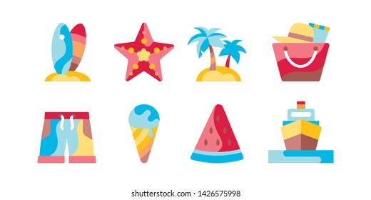Summer vacation flat color icons set. Beach holiday. Tourism. Sea resort. Signs for web page, mobile app, banner. Isolated flat template.
