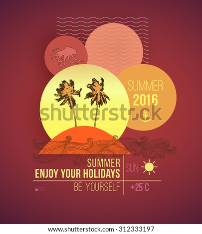 summer vacation flyer design palm trees stock vector royalty free