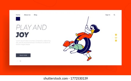 Summer Vacation, Freedom Landing Page Template. Children Characters Riding Swing Made of Pld Car Tires Hanging on Rope at Tree in Playground. Little Girls Laughing. Linear People Vector Illustration