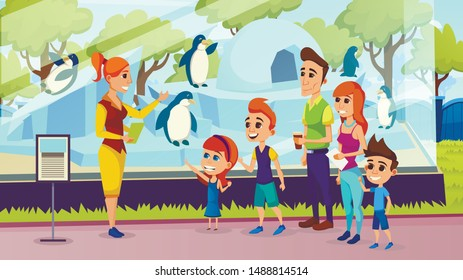 Summer Vacation, Happy Family of Mother, Father and Kids Having Excursion with Guide in Zoo, Dad, Mom, Daughter and Son at Cage with Penguins, Children Outdoor Leisure Cartoon Flat Vector Illustration