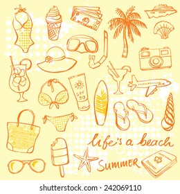 Summer vacation holiday icons vector set