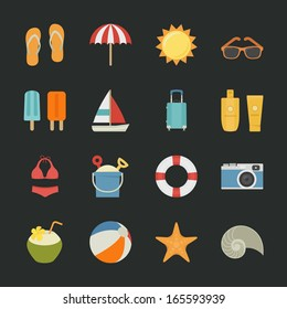 Summer and Vacation icons with black background , eps10 vector format