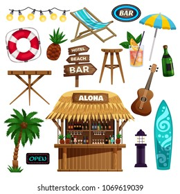Summer vacation  icons set with bungalow bar tropical fruits and set of accessories for rest on ocean beach vector illustration