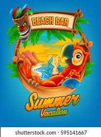 summer vacation illustration for beach bar with parrot