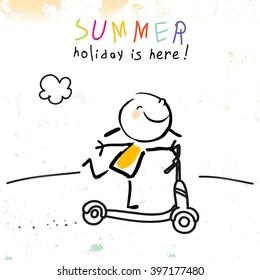 Summer vacation for kids at school. Girl on scooter sketch, doodle. Vector illustration.