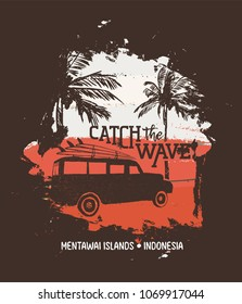 Summer vacation in Mentawai islands, Indonesia. Holiday illustration with text quote, car and surf boards on tropical beach. Vintage texture design for textile print, card or poster. EPS10 vector.