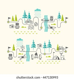 Summer vacation in nature. Hiking trail. Vector concept illustrations with icons of camping and travel.