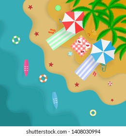 Summer vacation on the beach, top view, picnic for couple, sports equipment for games and recreation, paper craft style, sunbeds in the shade under umbrellas. Vector