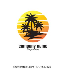 summer vacation on tropical beach Sunset label, with Palm trees ,vector illustration