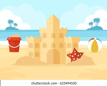 Summer Vacation. Sand Castle, Bucket of Sand and Beach Ball on a Beach. Flat Design Style.