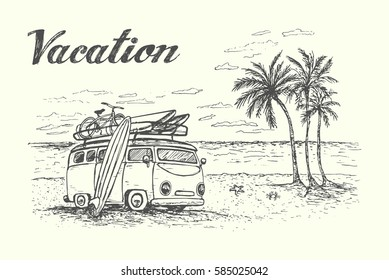 Summer vacation scene with camping van, travel equipment, beautiful beach on background.Hand drawn,isolated,vector