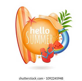 Summer vacation at sea, travel, logo, ready design, isolated on white background. Vacation, vacation vacations, summer action. Beautiful illustration, realistic drawing.