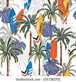 Summer vacation seamless hand drawing tropical pattern  with palm tree ,Sea summer seamless with palm trees, islands leaves and surfboards on  white background.