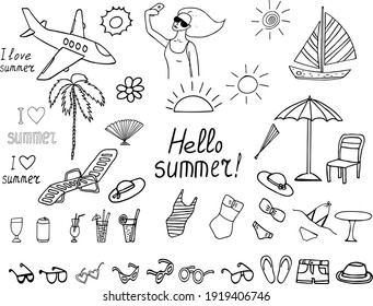 summer vacation set icon. sketch hand drawn doodle style. minimalism, monochrome. swimsuit, sun, palm tree, chaise longue, lettering, sunglasses, cocktails, umbrella shorts plane sailboat fan hat