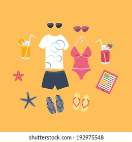 cb782365d381f Summer vacation set of icons with a mans shorts