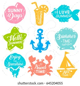 Summer vacation set of label, banner, design elements with quotes, phrases lettering about summer. Shapes of shell, crab, ship, starfish, anchor, fish, clam, cold drink, jellyfish. Vector illustration