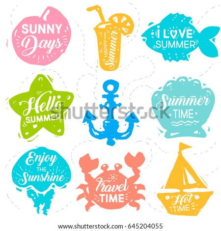 Summer Vacation Set Label Banner Design Stock Vector Royalty Free