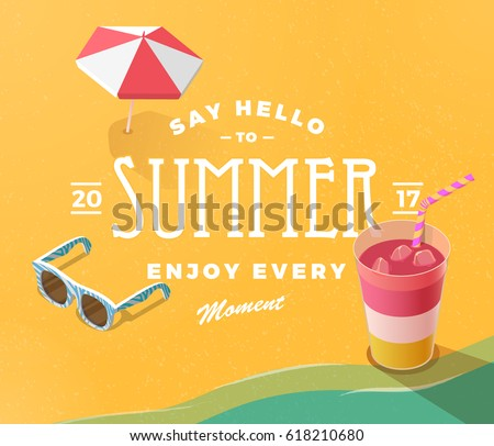 summer vacation template beach summer accessories のベクター画像