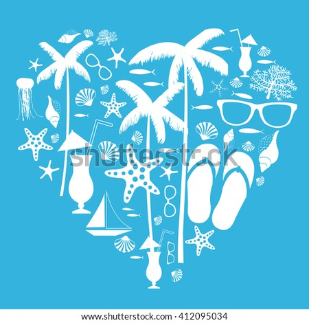 64fb26eaf6129 Summer Vacation Travel Background Drawing Palm Stock Vector (Royalty ...