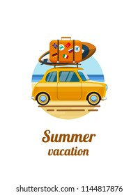 Summer vacation. Vacations on the beach. Relax on the beach. Relax on the beach of the sea. Car by the sea with luggage. Summer tourism, travel. Flat style. Flat design. Vector illustration Eps10 file
