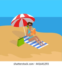 Summer vacation. Vector flat design. Leisure on tropical sunny seaside. Woman reading book in the shade of umbrella on a sand beach in the tropical country. Sunbathing and relaxing on the seashore.