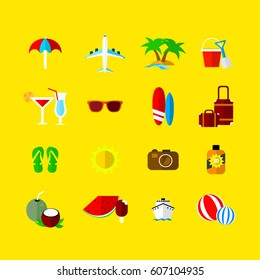 Summer vacation vector icons in flat design style.