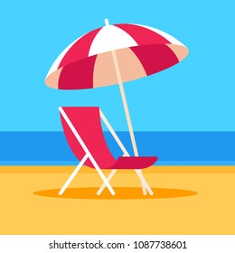 Summer vacation vector illustration. Beach scene with umbrella and beach chair, flat cartoon style.