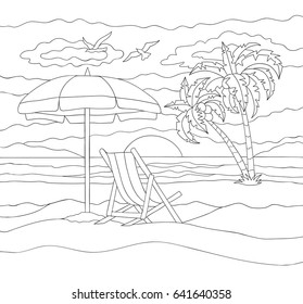 Summer vacation vector illustration isolated on white background. Coloring book of beach.
