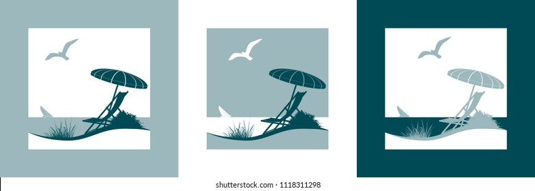 Summer vacation vector symbol with sunshade, deckchair, seagull, sailing boat, beach and the sea