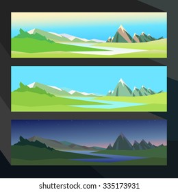 Summer in the valley of a mountain river in different time. Vector illustration for use in web design or other visual area. Landscape sketch for the background.