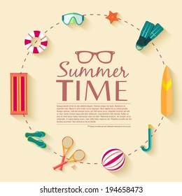 summer vecetion time background circle. Vector illustration concept