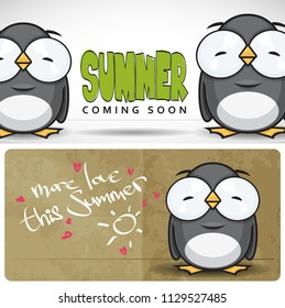 Summer vecor card with cartoon penguin character.