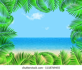 Summer vector background with beach, palm leafs frame for banner, poster, web backdrop. Empty space for the text. Eps 10.