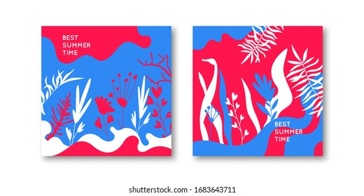 Summer vector background for design. A set of posters in a trendy style with a plant theme. Vector background.