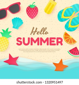 Summer vector background. Paper cut. Can used for banners,Wallpaper,flyers, invitation, posters, brochure. Vector illustration - Shutterstock ID 1320951497
