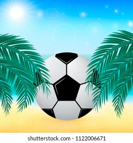 Summer vector background with sea, palm leaves and Soccer ball. Blurred bokeh backdrop. Vacation and sport concept. Tropical beach and activities.  Easy to edit design template for your artworks.
