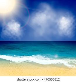 Summer vector background. Seascape vector illustration.