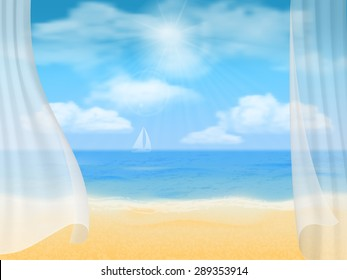 Summer vector background. View of the beach through the curtains.