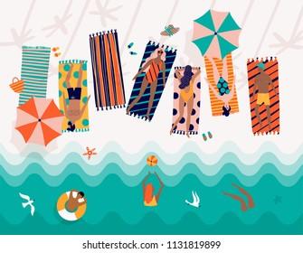 Summer vector beach illustration with cartoon people