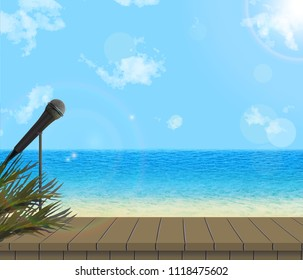 Summer vector concept for concerts, outdoor activities. Stage on beach with microphone, palm leafs, bokeh, sun and sunlight. Eps 10.