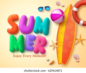 Summer vector design concept with colorful 3D text and summer elements in beach sand background. Vector illustration.