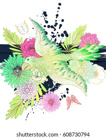 Summer Vector Fantasy background with Hand Drawn parrot , vector background with colorful flower and blots.