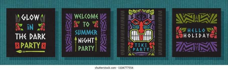 Summer vector greeting card ethnic tribal style .Tiki style invitation, glow in the dark style.