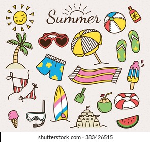 Summer vector icon in cute cartoon doodle style