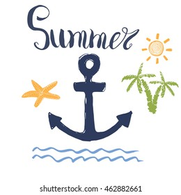 Summer Vector Illustration, Anchor, Palms and Lettering Isolated
