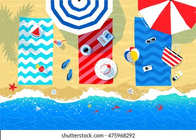 Summer vector illustration of beach mats, parasols and seaside accessories on sand background and sea surf.