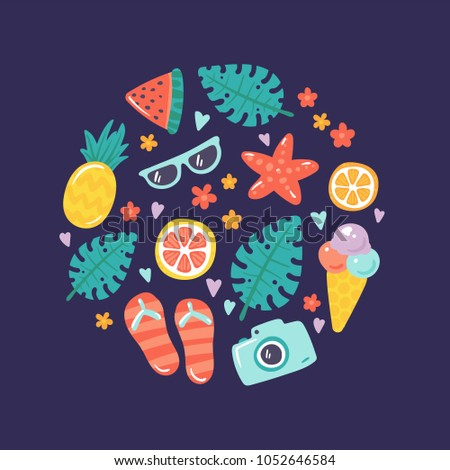 3a3e707e317d0 Summer vector illustration with cute colorful icons in circle. Set of  pictures for summer events