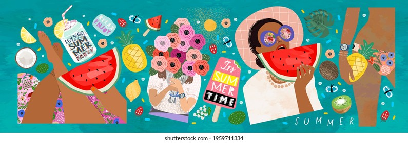 Summer! Vector illustration of marine hot vibes. Drawings of a woman with watermelon and pineapple in a swimsuit, girls with a bouquet of flowers, ice cream, soda and fruits